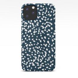 Navy Dots abstract minimal print design pattern brushstrokes painterly painting love boho urban chic iPhone Case