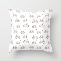 bikes Throw Pillows featuring bikes by Marcelo Badari