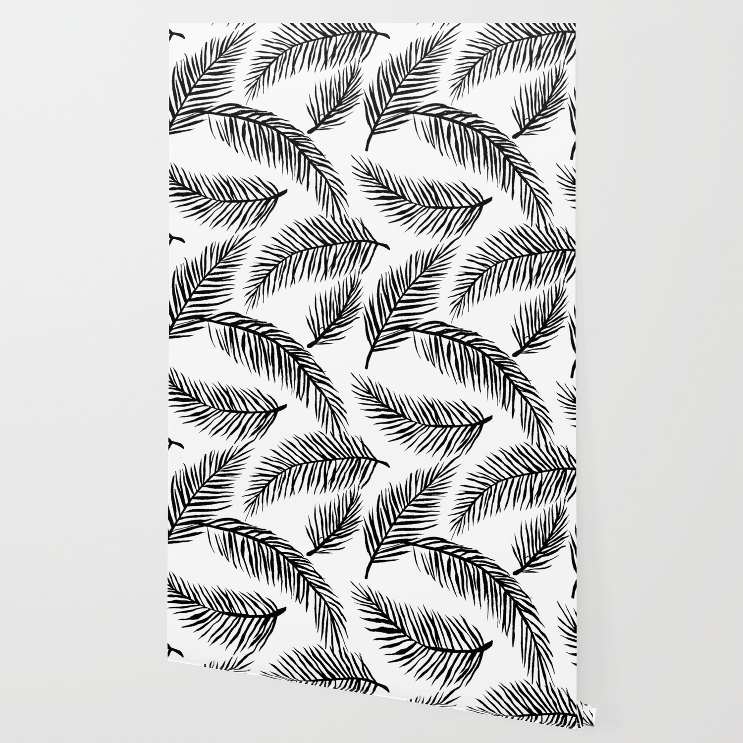 Black White Palm Leaves Wallpaper