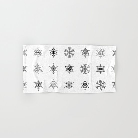 Snowflake Pattern - Black and white winter snowflake pattern artwork Hand & Bath Towel