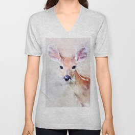 Deer Fawn Watercolour Animal Painting Artsy Watercolor Nursery Pink Unisex V-Neck
