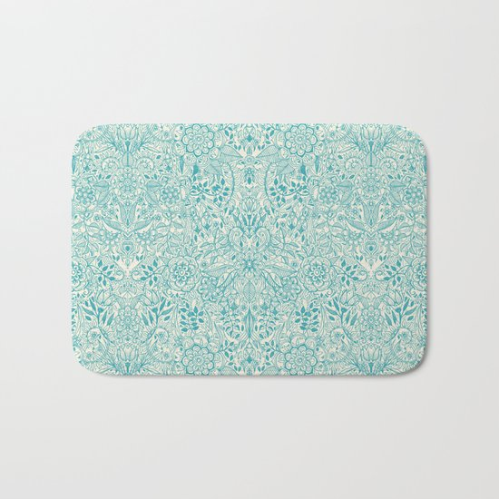 Detailed Floral Pattern in Teal and Cream Bath Mat