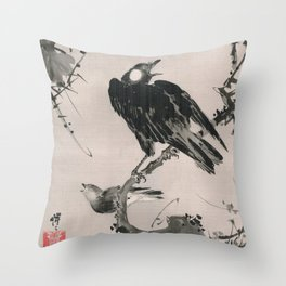Starlings on a Branch Throw Pillow