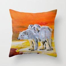 Polar Bears Surviving Throw Pillow