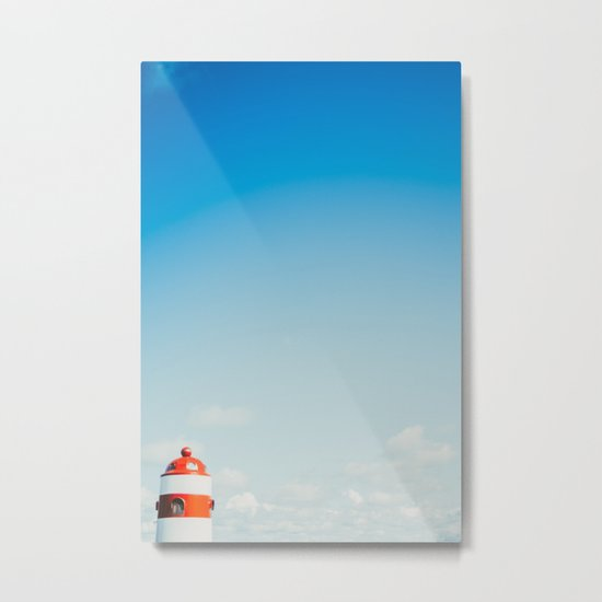 Red White Lighthouse Metal Print