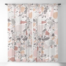 Neutral Terrazzo / Earth Tone Abstraction Sheer Curtain