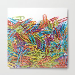 Colorful paperclips texture Metal Print