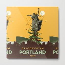 DISCOVERING PORTLAND OREGON (Orange) Metal Print