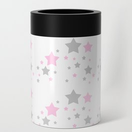Pink Grey Gray Stars Can Cooler