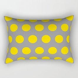 Medium Yellow Dots on Gray Rectangular Pillow