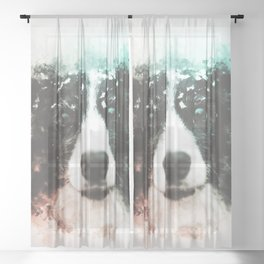 Border Collie Digital Watercolor Painting Sheer Curtain