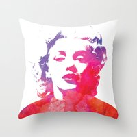 marilyn Throw Pillows featuring Marilyn by Fimbis