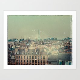 Eiffel Tower from Above, Vintage Styled Art Print