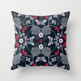 Navy Blue, Gray & Red Butterfly Pattern With Flowers Throw Pillow