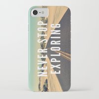 never stop exploring iPhone & iPod Cases featuring Never Stop Exploring by Crafty Lemon
