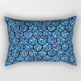 Sparkly Turquoise & Blue & Glitter Mermaid Scales Rectangular Pillow