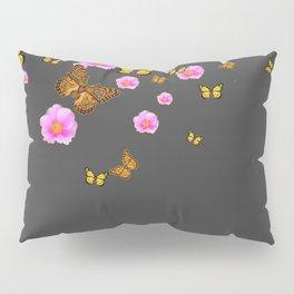 GREY PINK WILD ROSES  MONARCH BUTTERFLIES Pillow Sham