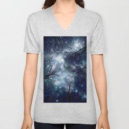 Black Trees Deep Blue Teal Space Unisex V-Neck