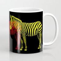 popart Mugs featuring Zebra PopArt by Monika Juengling