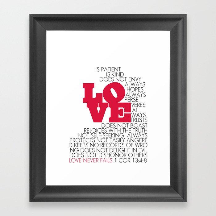 LOVE. 1 Corinthians 13:4-8. Framed Art Print By Amen