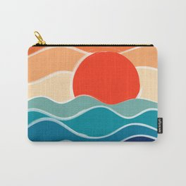 Retro 70s and 80s Color Palette Mid-Century Minimalist Nature Waves and Sun Abstract Art Carry-All Pouch