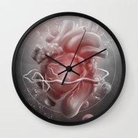 valentine Wall Clocks featuring Valentine by Nicolas Jamonneau