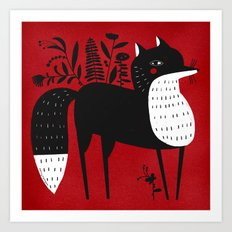 BLACK & WHITE FOX Art Print