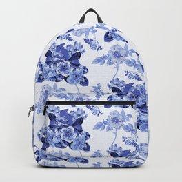 Blue Botanical Toile Backpack