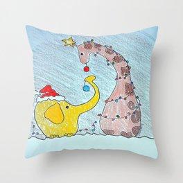 santa elephant and giraffe Throw Pillow
