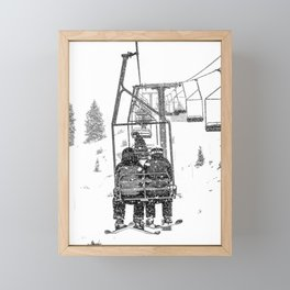 Snow Lift // Ski Chair Lift Colorado Mountains Black and White Snowboarding Vibes Photography Framed Mini Art Print