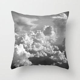 Light Dancing through Soft Clouds - Black and White Throw Pillow