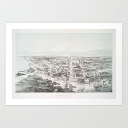 Vintage Pictorial Map of Buffalo NY (1853) Art Print