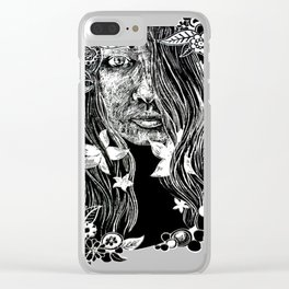 Black and White Flower Girl Line Cut Clear iPhone Case
