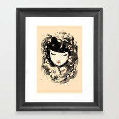Ink Flower Girl Framed Art Print
