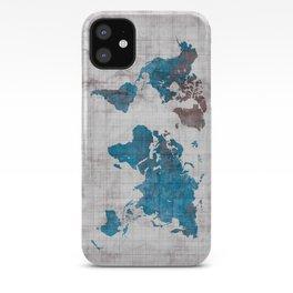 world map 96 blue #worldmap #map iPhone Case