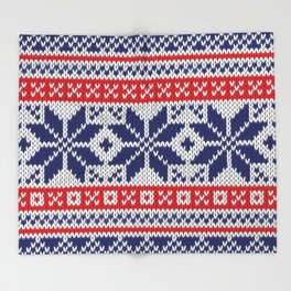Winter knitted pattern 7 Throw Blanket