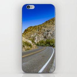 Highway Road Cutting through the Mountains in the Anza Borrego Desert, California, USA iPhone Skin