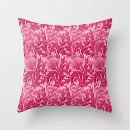Jacobean Flower Damask, Fuchsia and Light Pink Throw Pillow