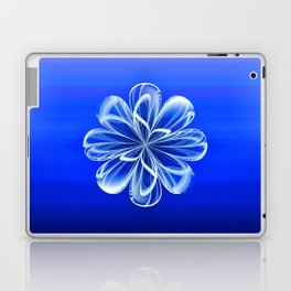 White Bloom on Blue Laptop & iPad Skin