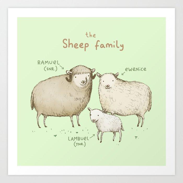 The Sheep Family Kunstdrucke