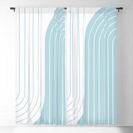 Two Tone Line Curvature XV - Sky Blue Blackout Curtain