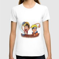 luffy T-shirts featuring Luffy And Naruto eating Ramen by mannynunez