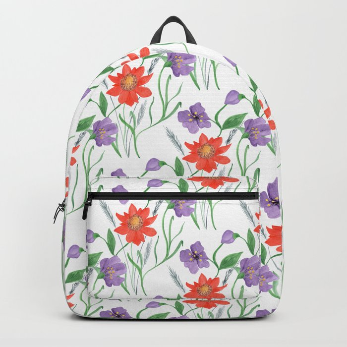 Bright floral pattern.3 Red,blue watercolor flowers on a white . Backpack