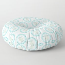 Turquoise Green Turtle And Mandala Floor Pillow