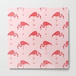 Flamingo Watercolor Pattern Metal Print