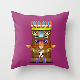Tiki Statuette Throw Pillow