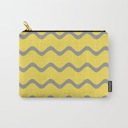 Soft Rippled Horizontal Line Pattern V2 Pantone 2021 Color Of The Year Illuminating Ultimate Gray Carry-All Pouch