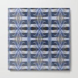 Feathery Indigo Antiqued Boho Geometric Print Metal Print