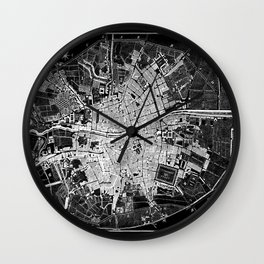 Dublin Map 1797 Vintage Reverse Black and White Wall Clock