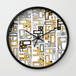 Tetris monsters yellow and grey Wall Clock